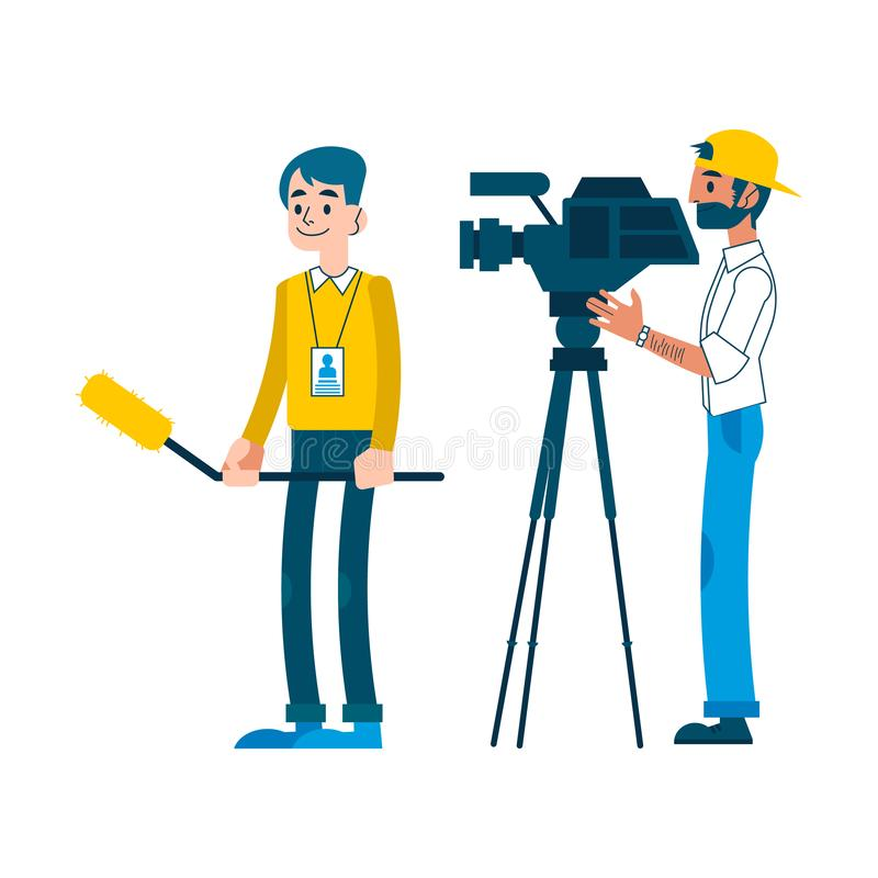 Vector man video reporter setting camera interview. Vector yong man video reporter with beard in cap working setting camera, man with microphone taking tv stock illustration