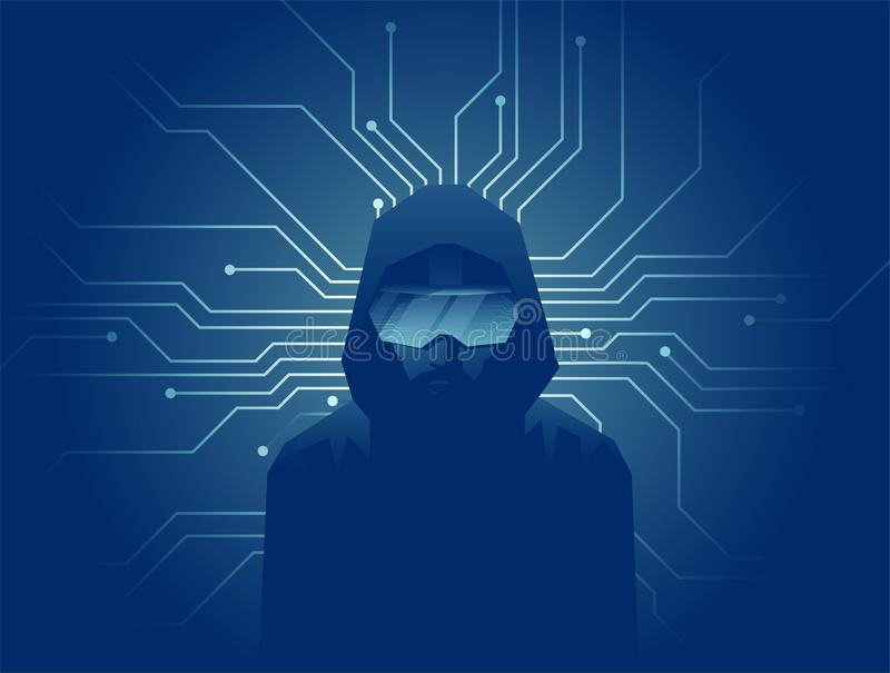 Vector of a man in VR headset glasses on dark background with lines of internet network connections. Virtual reality modern technology concept. Vector of a man vector illustration