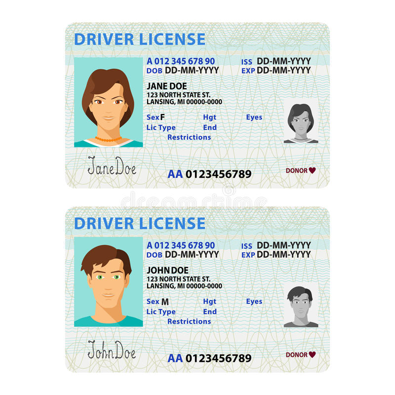 Vector man and woman driver license plastic card template.  stock illustration