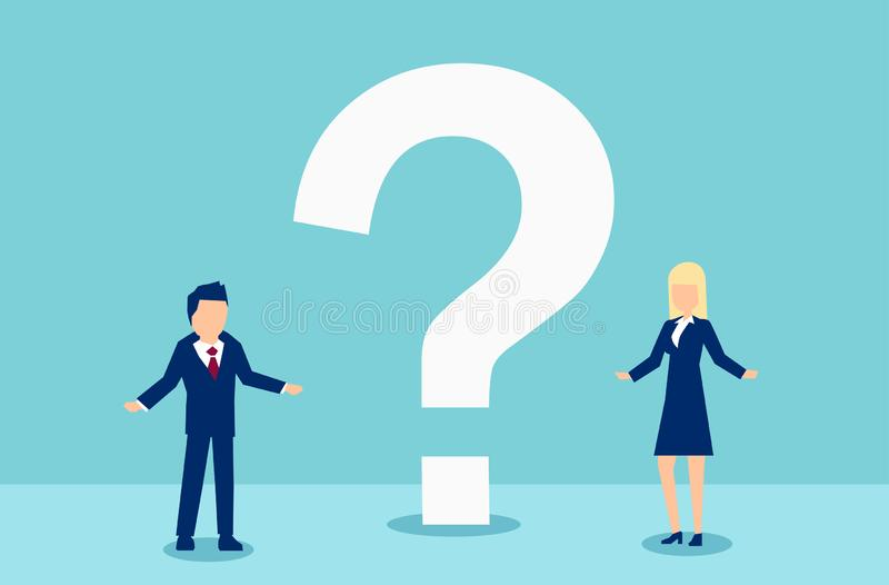 Vector of a man and woman having troubled communication and questions vector illustration