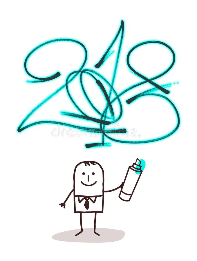 Cartoon man Writing a 2018 Blue Green Sign stock illustration
