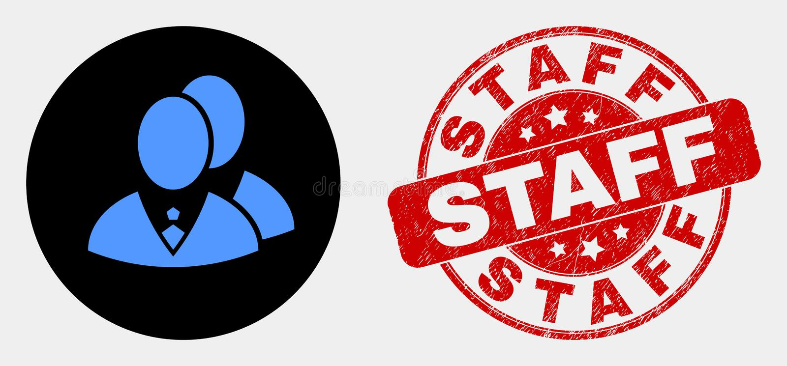 Vector Managers Icon and Grunge Staff Watermark. Rounded managers icon and Staff seal. Red round scratched seal stamp with Staff caption. Blue managers icon on stock illustration