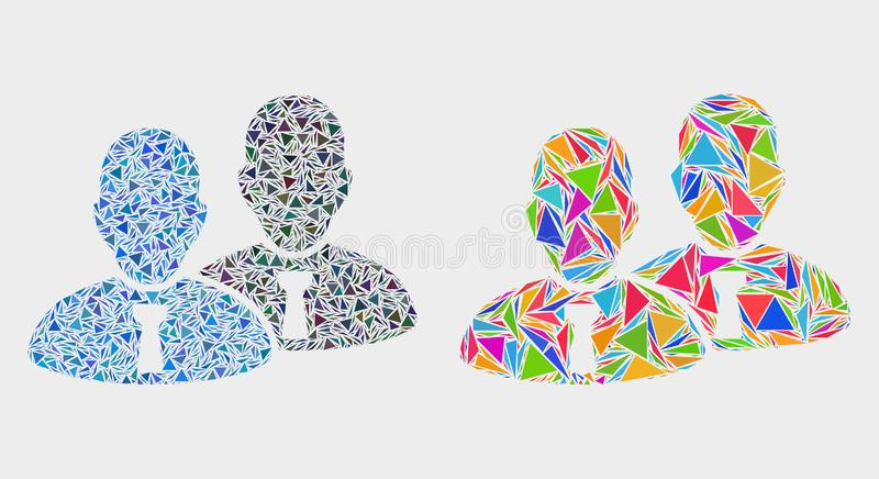 Vector Managers Mosaic Icon of Triangles. Managers mosaic icon of triangle items which have various sizes and shapes and colors. Geometric abstract vector design royalty free illustration