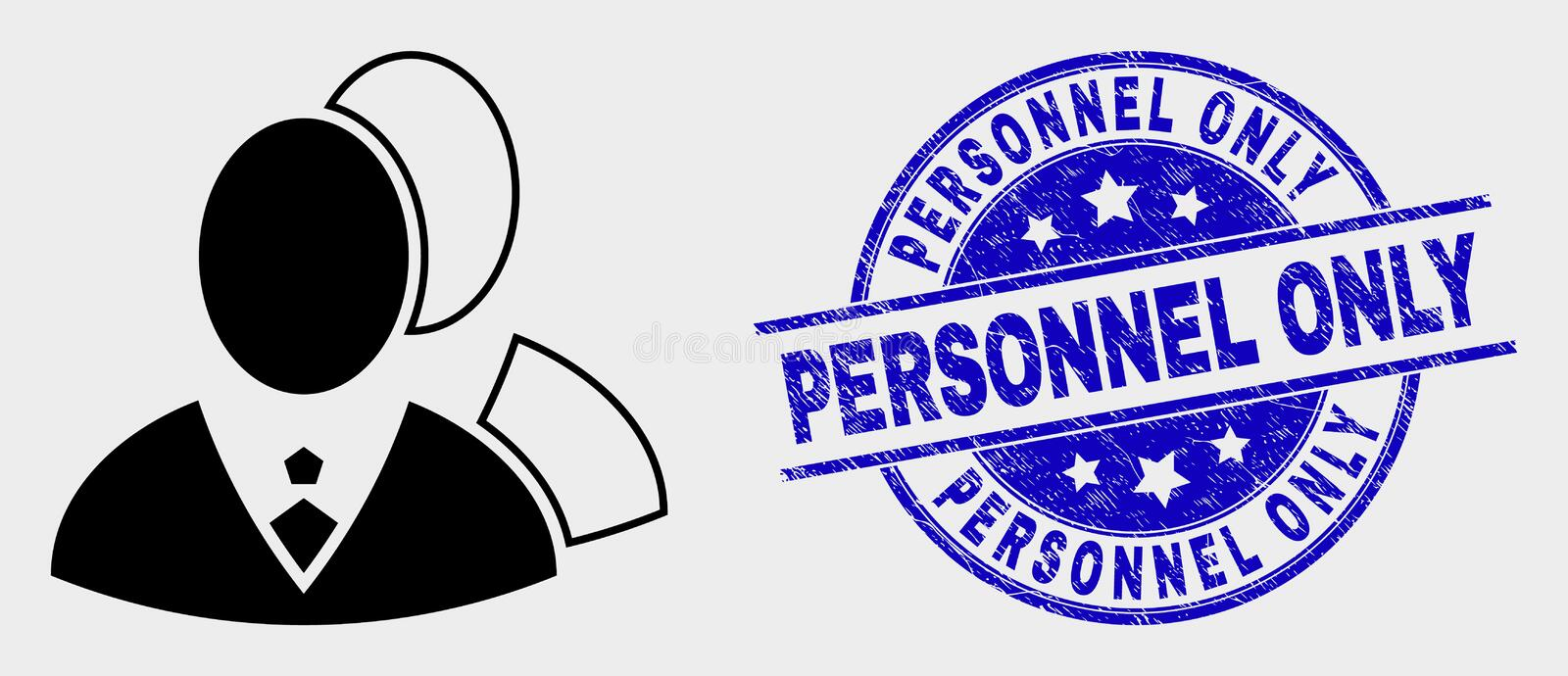 Vector Managers Icon and Distress Personnel Only Seal. Vector managers pictogram and Personnel Only seal. Red round grunge seal with Personnel Only text. Vector stock illustration