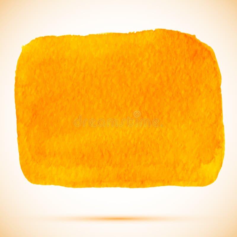 Vector a mancha alaranjada quadrada da pintura da aquarela com sombra ilustração do vetor
