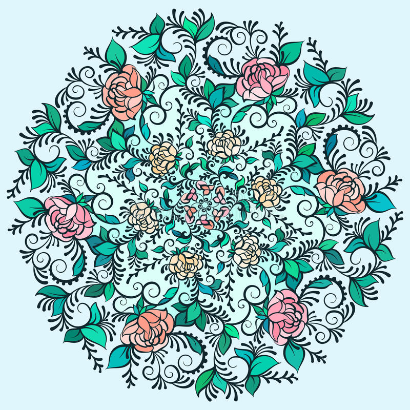 Vector a mandala colorida Deco bonita do contorno, elemento modelado do projeto, amuleto étnico ilustração stock