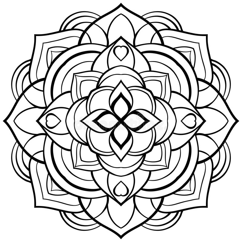Vector Mandala For Coloring Book. Stock Vector - Illustration of ...
