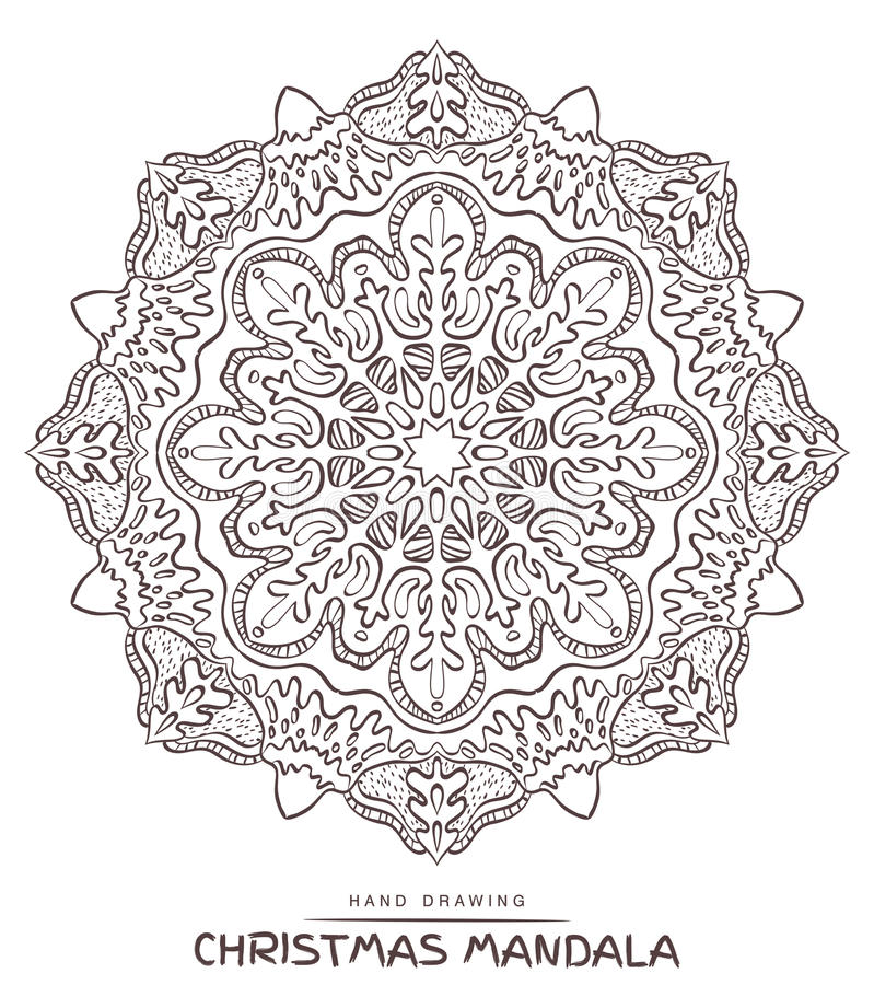 Vector mandala for coloring with christmas decorative elements. stock image