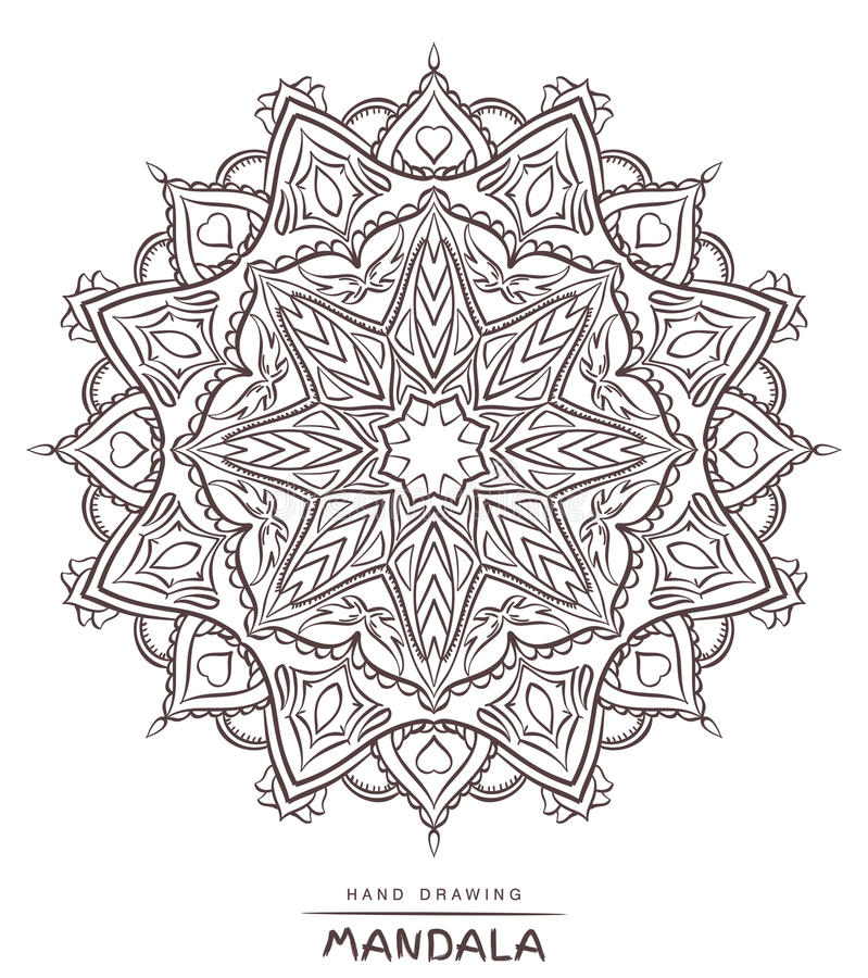 Vector mandala for coloring with ethnic decorative elements. stock photo