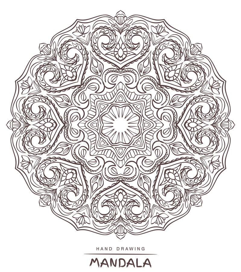 Vector mandala for coloring with ethnic decorative elements. stock images