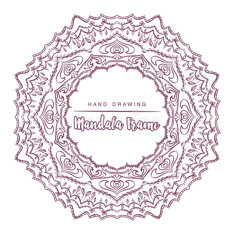 Vector mandala for coloring with floral decorative elements. stock photos