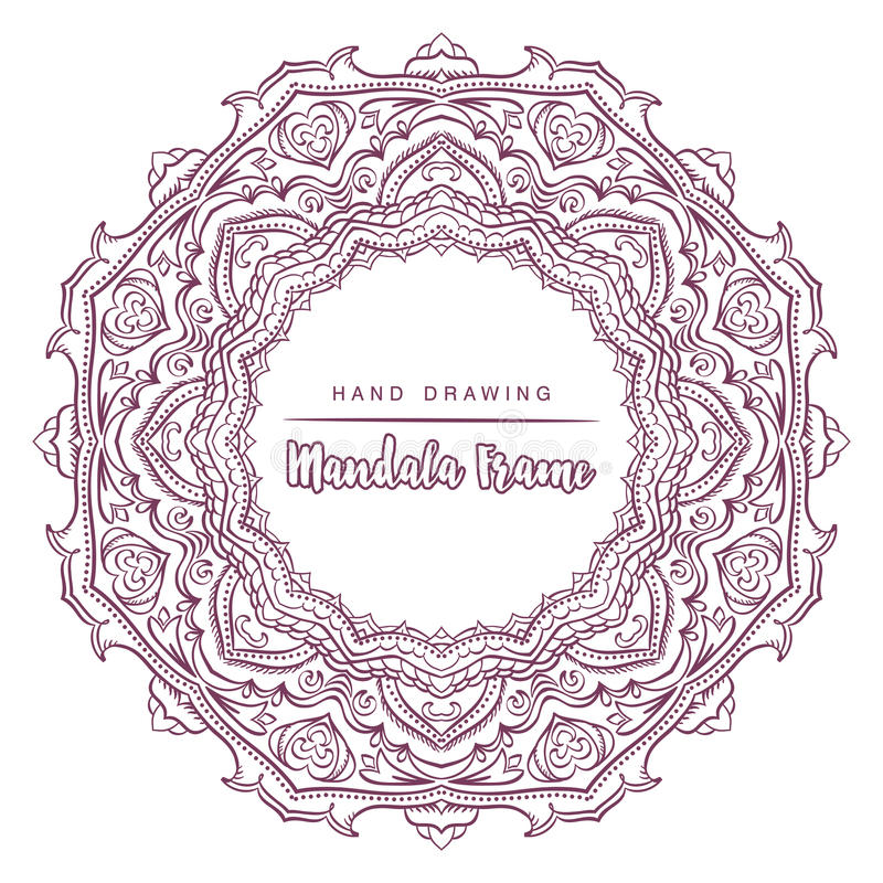 Vector mandala for coloring with floral decorative elements. stock photo