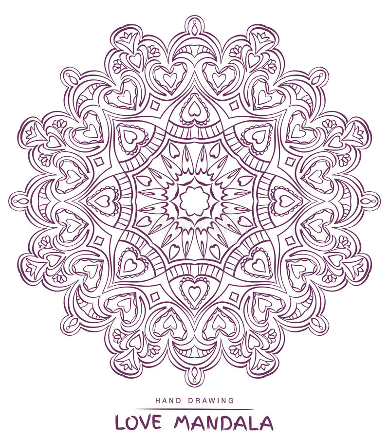 Vector mandala for coloring with valentines decorative elements. stock images