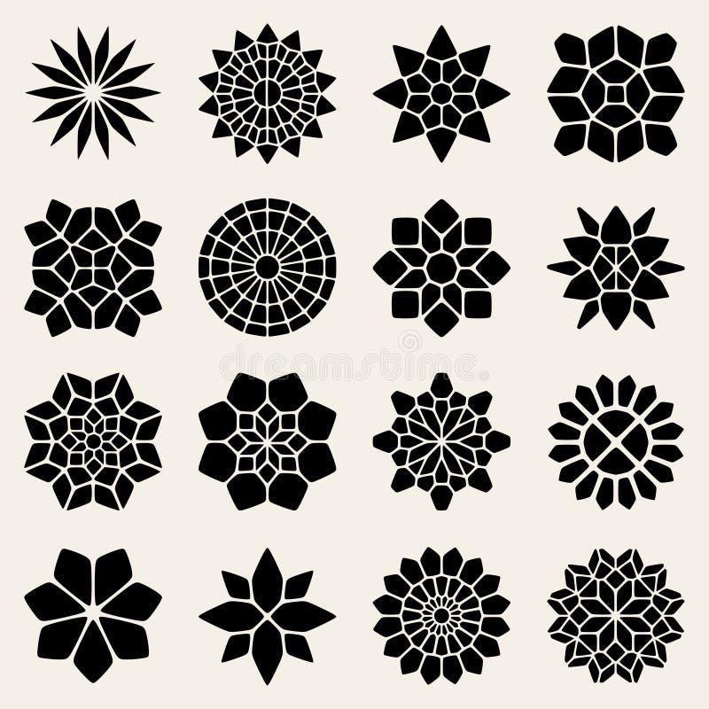 Vector Mandala Lace Ornaments Collection blanco y negro ilustración del vector