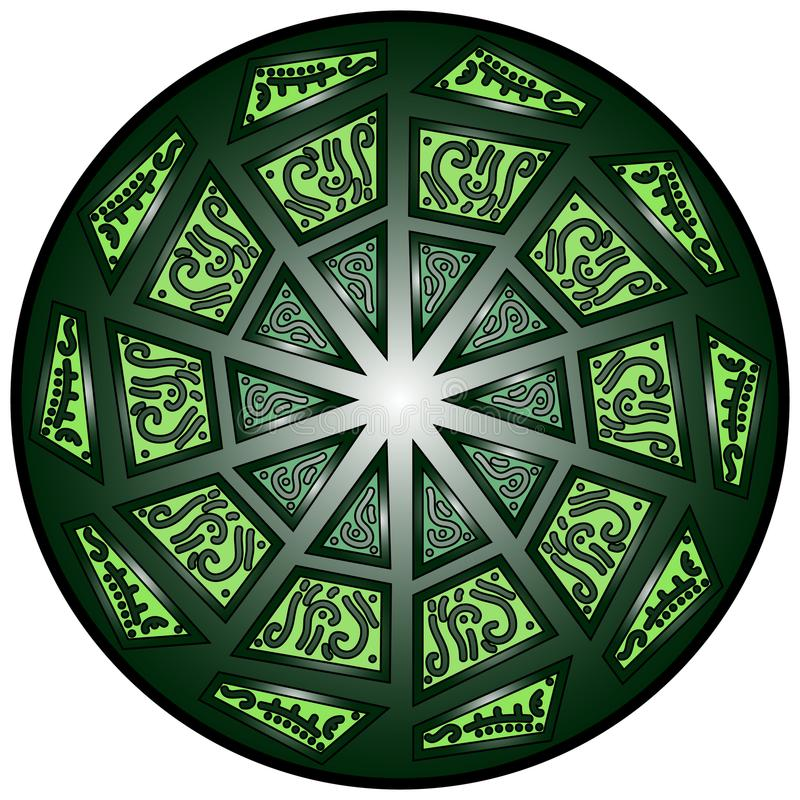Vector a mandala, ornamento geométrico redondo, teste padrão floral estilizado Elemento isolado do projeto colorido em um fundo b foto de stock royalty free