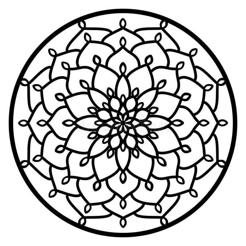 Vector a mandala redonda laçado do ornamento do estêncil com a céu aberto cinzelado ilustração stock