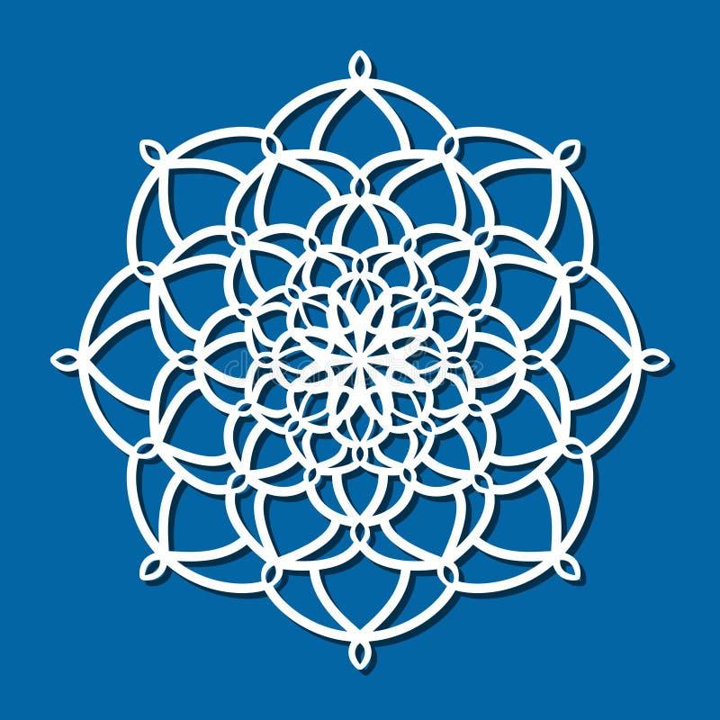 Vector a mandala redonda laçado do ornamento do estêncil com a céu aberto cinzelado ilustração royalty free