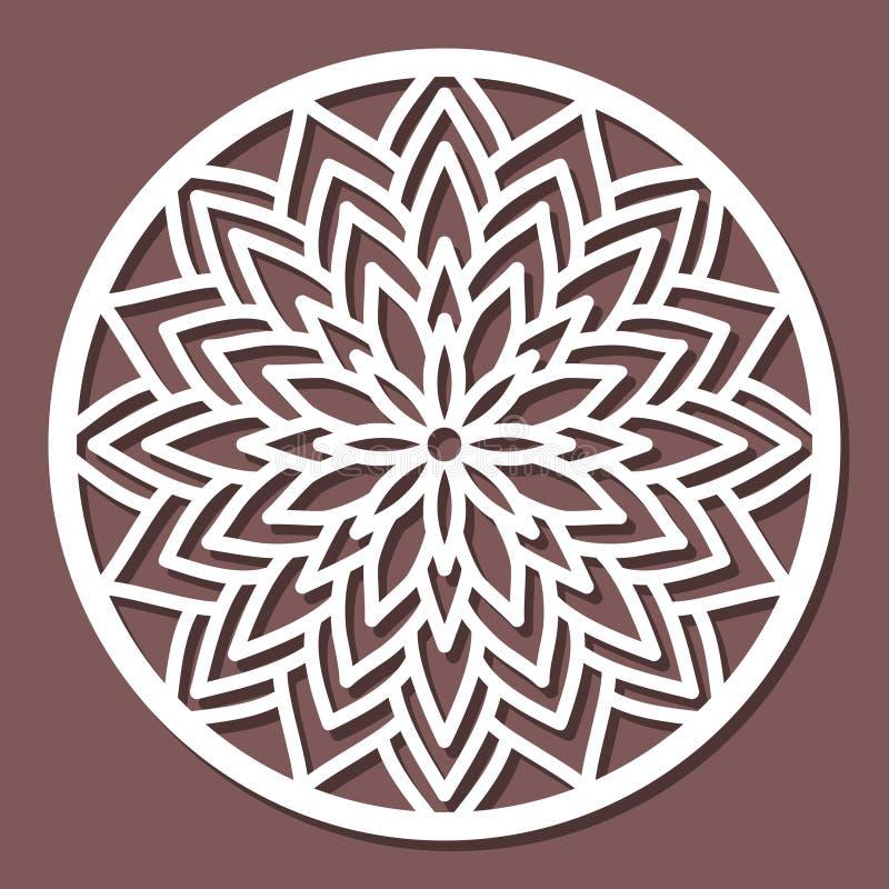 Vector a mandala redonda laçado do ornamento do estêncil com a céu aberto cinzelado ilustração do vetor