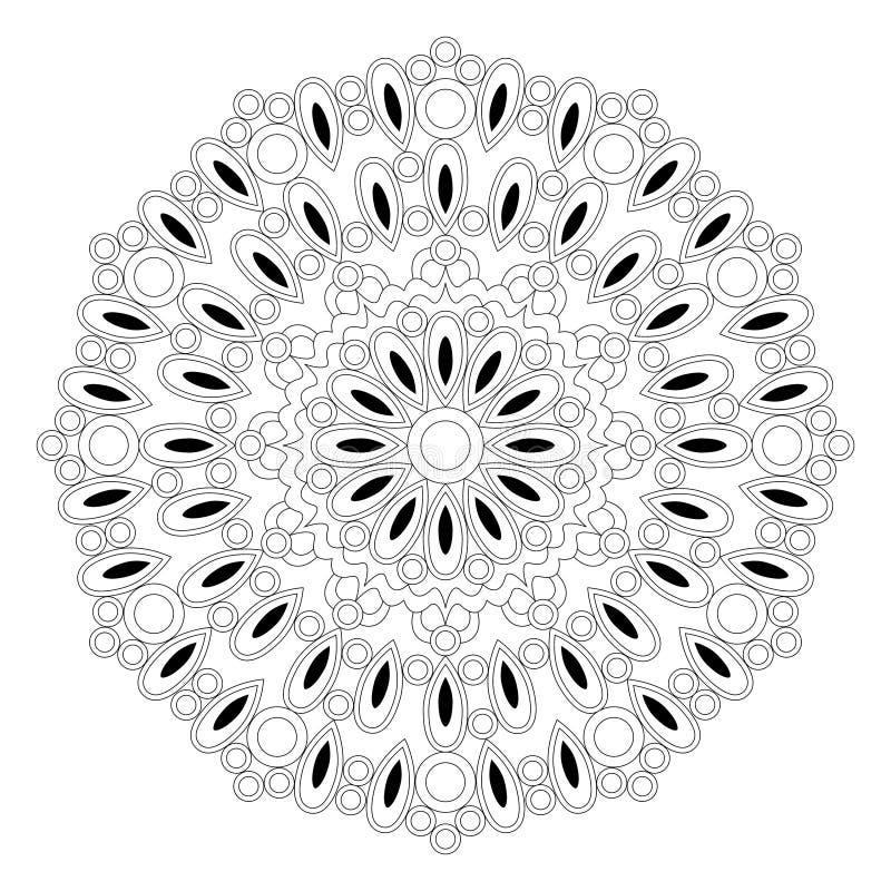 Vector a mandala redonda preto e branco com gotas e anéis - página adulta do livro para colorir ilustração royalty free