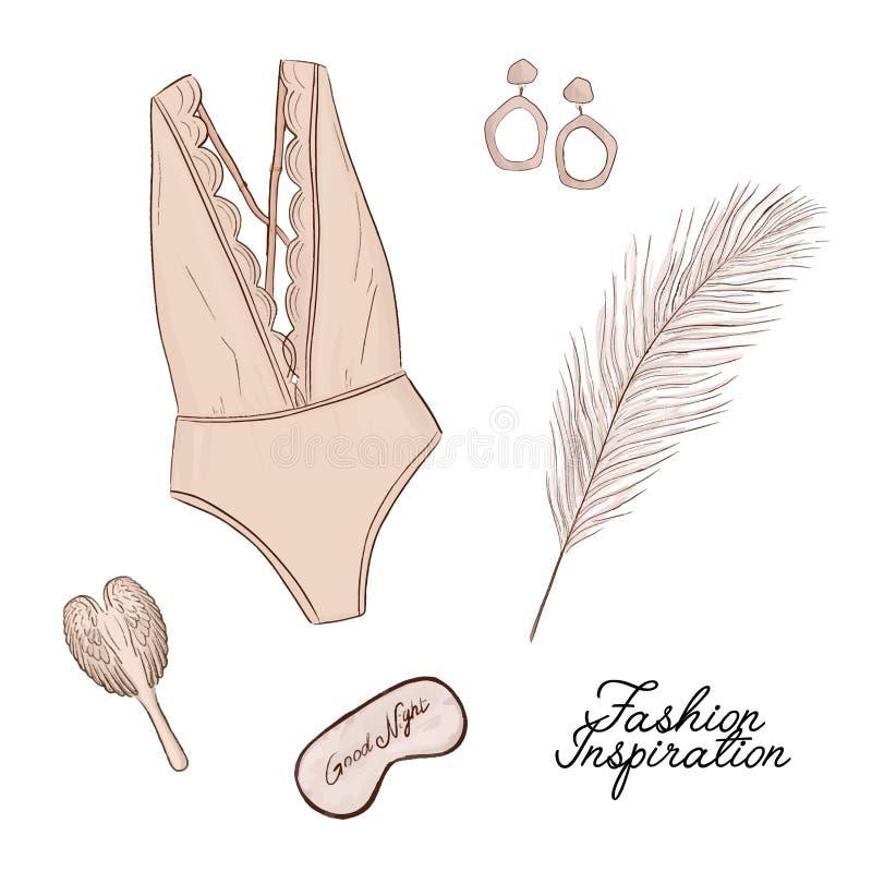 Vector manierillustratie De Lingeryreeks, engelen borstelt, bevedert en gezichtsmasker - glamourschets Flatlay seksuele hand getr stock illustratie
