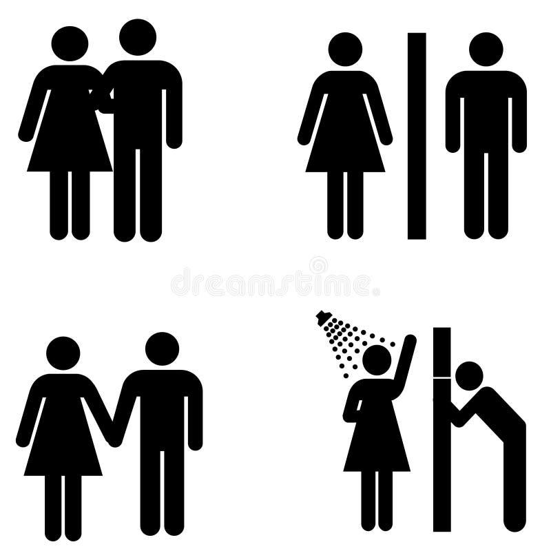 Vector mannelijke en vrouwelijke tekens royalty-vrije illustratie