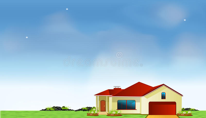 Vector Mansion In The Meadow Royalty Free Stock Photography