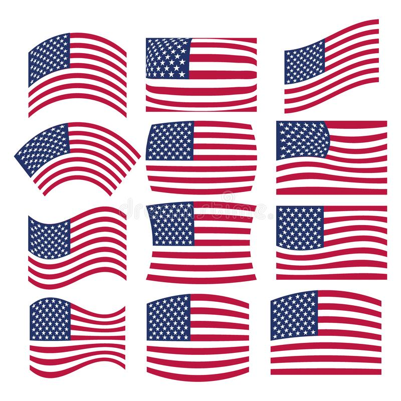 Vector - Many American USA flags waving in different styles for banner or icon use royalty free illustration