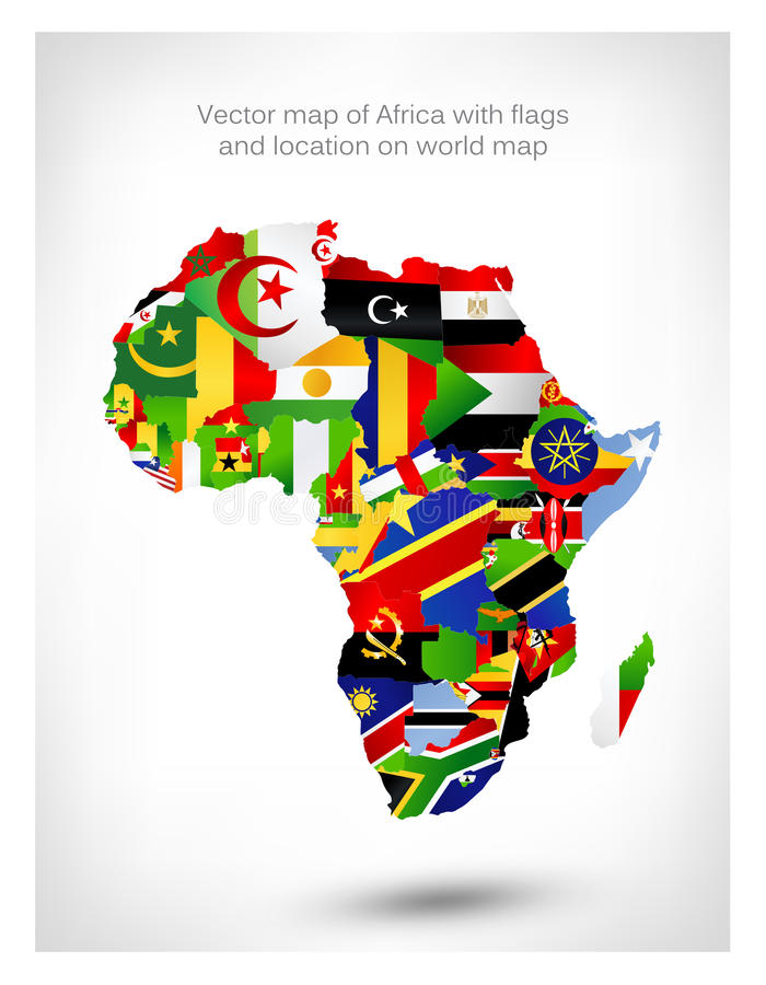 Vector map of africa with flags and location on world map stock download vector map of africa with flags and location on world map stock vector image gumiabroncs Choice Image