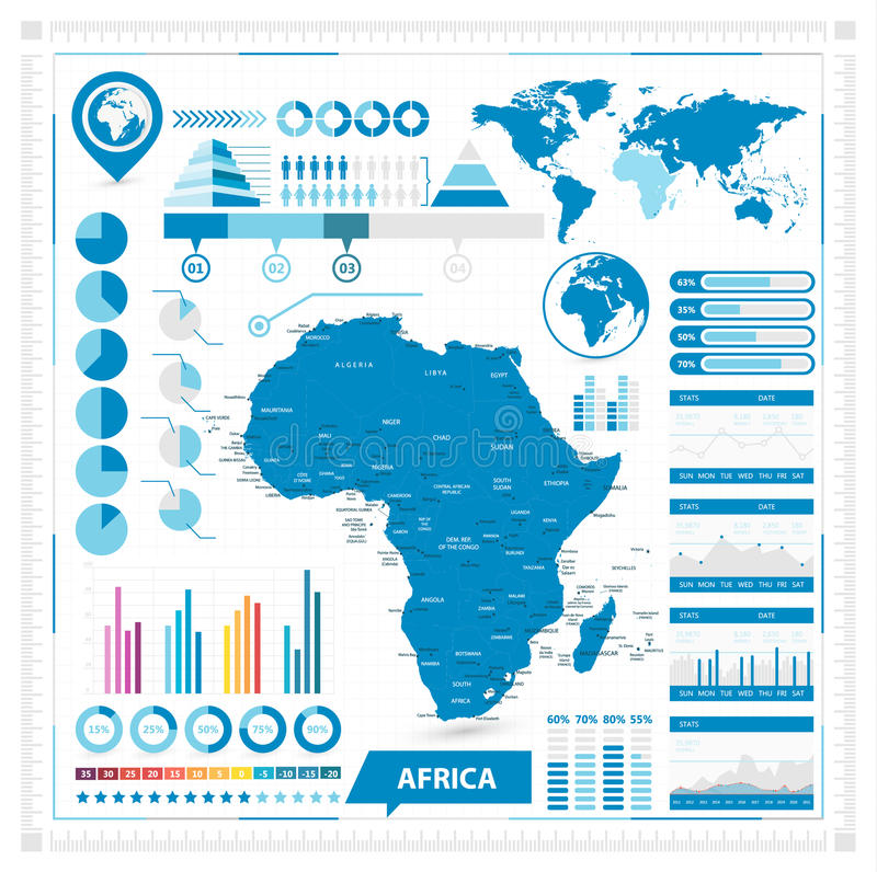 Vector map of africa and infographic elements stock vector download vector map of africa and infographic elements stock vector illustration of background diagram ccuart Image collections