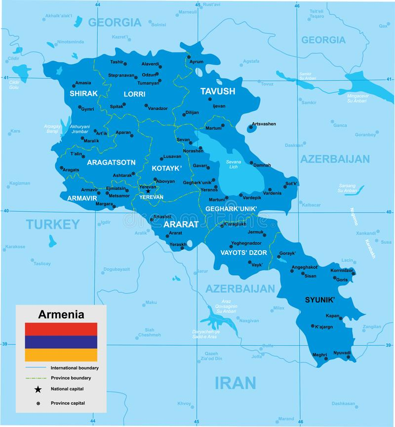Vector map of Armenia royalty free illustration