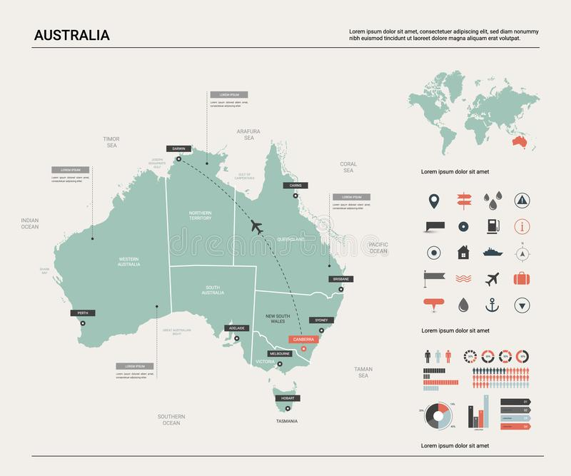 Vector map of Australia .  High detailed map with division, cities and capital Canberra. Political map,  world map, infographic stock illustration