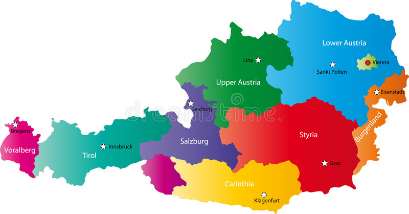 Vector map of Austria stock vector Illustration of state 6261674
