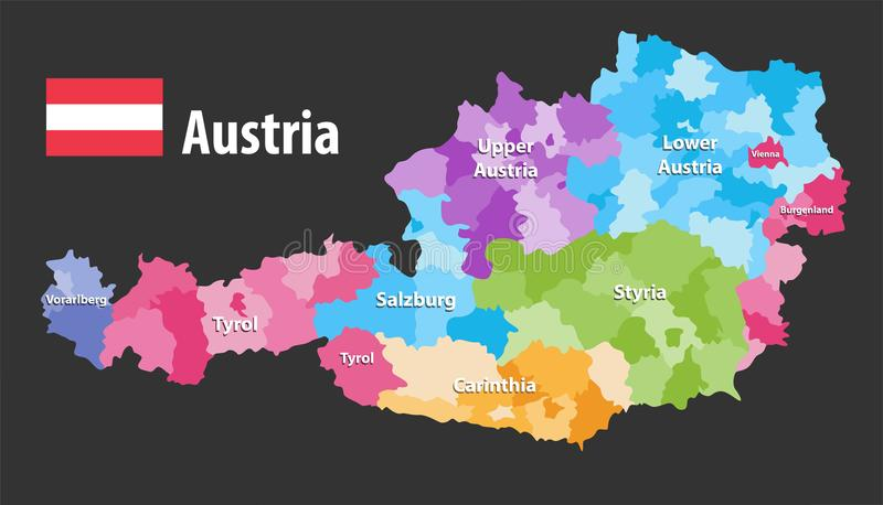 Vector map of Austria states and districts. Flag of austria, Each state have own color palette. Isolated on black background stock illustration