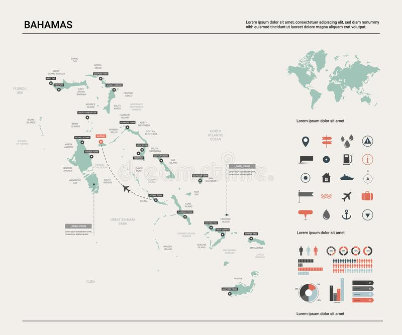 Vector map of Bahamas .  High detailed country map with division, cities and capital. Political map,  world map, infographic vector illustration