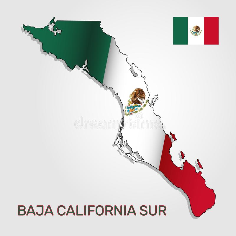 Vector map of Baja California Sur state combined with waving Mexican national flag - Vector stock illustration