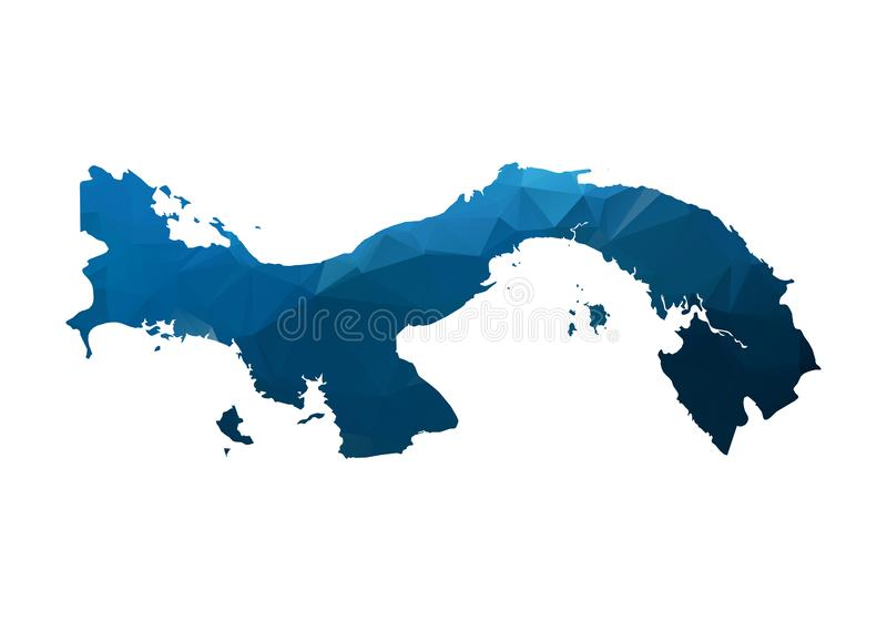 Vector Map - Blue Geometric Rumpled Triangular. Low poly map of Afghanistan. contour/shape map isolated on white background. Map of panama - Blue Geometric vector illustration