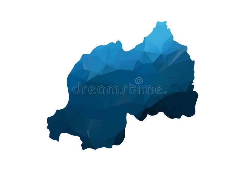 Vector Map - Blue Geometric Rumpled Triangular. Low poly map of Afghanistan. contour/shape map isolated on white background royalty free illustration