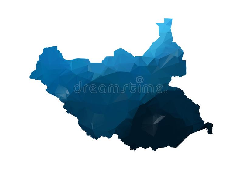 Vector Map - Blue Geometric Rumpled Triangular. Low poly map of Afghanistan. contour/shape map isolated on white background stock illustration