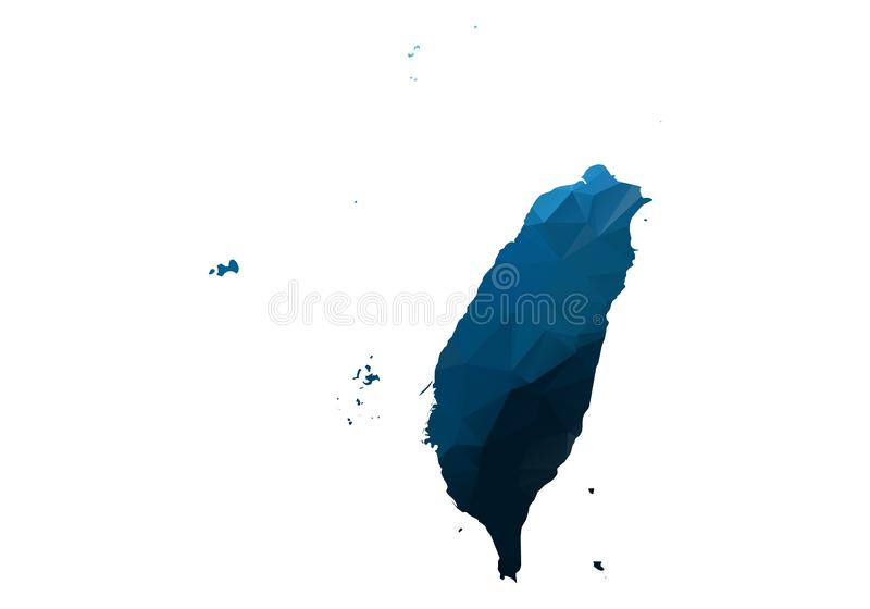 Vector Map - Blue Geometric Rumpled Triangular. Low poly map of Afghanistan. contour/shape map isolated on white background. Map of taiwan - Blue Geometric royalty free illustration