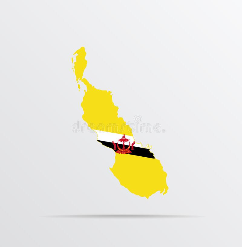 Vector map of Bougainville Island in Verbindung mit State of Nation Brunei, the Abode of Peace Flag lizenzfreie abbildung