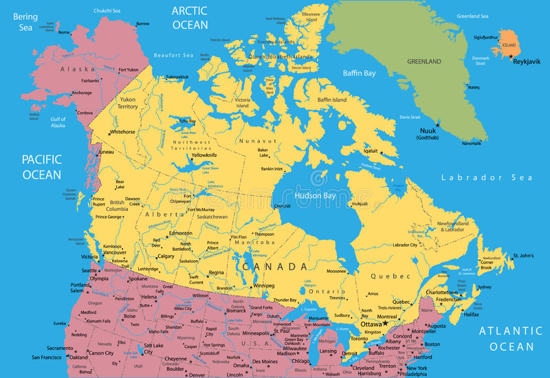 Vector map of Canada. And Alaska
