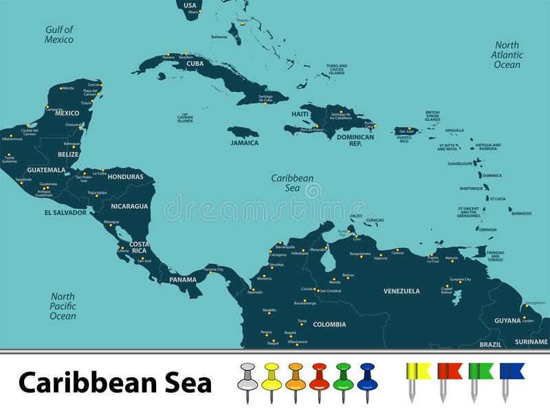 Map of Caribbean Sea. Vector map of Caribbean Sea with countries, big cities and icons vector illustration