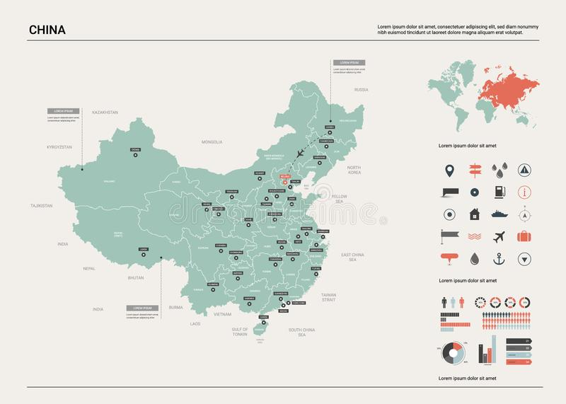 Vector map of China. High detailed country map with division, cities and capital Beijing. Political map,  world map, infographic vector illustration