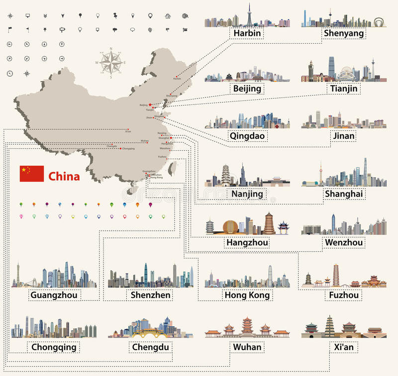 Vector map of China with largest chinese city skylines. vector illustration