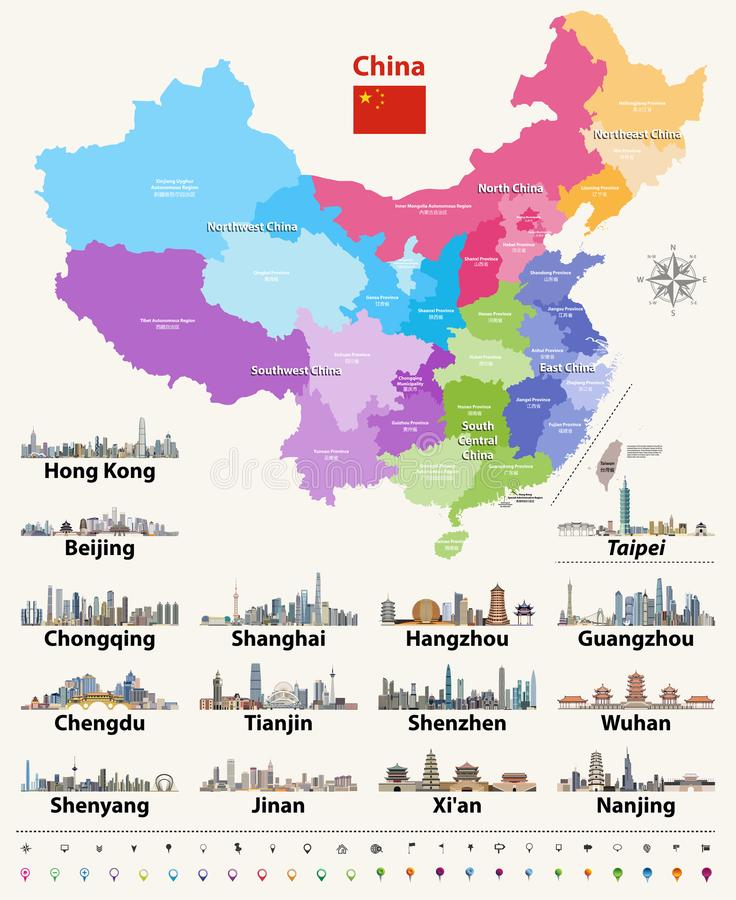 Vector map of China provinces colored by regions with largest city skylines. Flag of China stock illustration