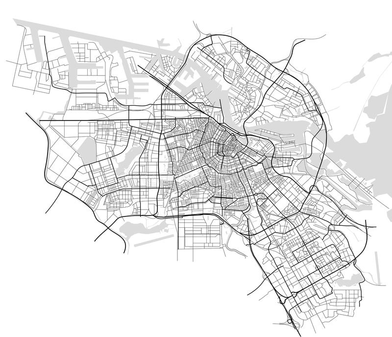City Map of Amsterdam, Netherlands royalty free illustration