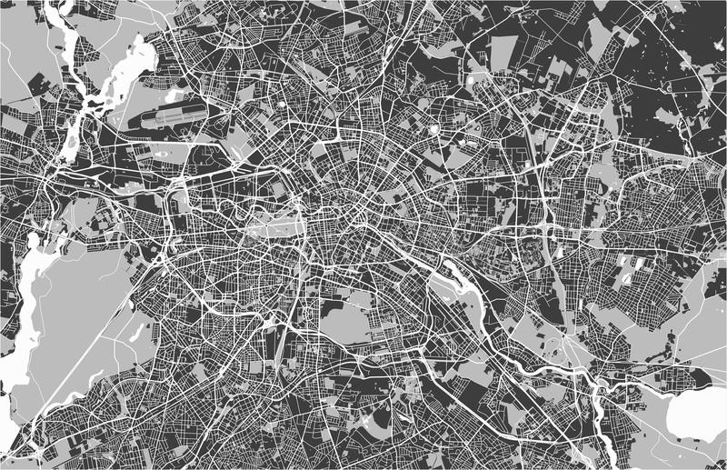 Map of the city of Berlin, Germany. Vector map of the city of Berlin, Germany stock illustration