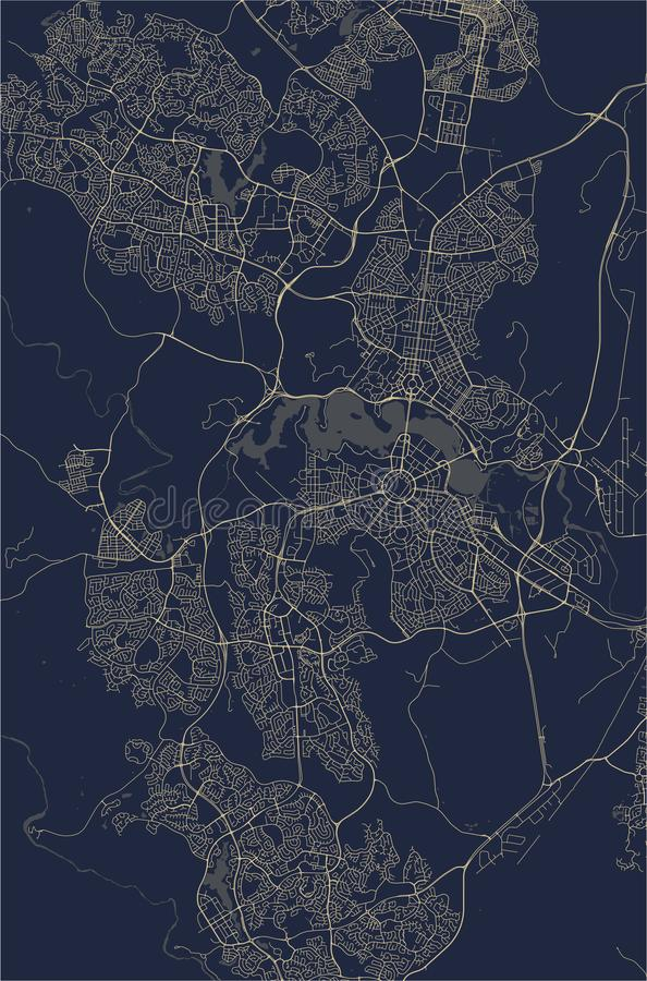 Map of the city of Canberra, Australian Capital Territory, Australia. Vector map of the city of Canberra, Australian Capital Territory, Australia royalty free illustration