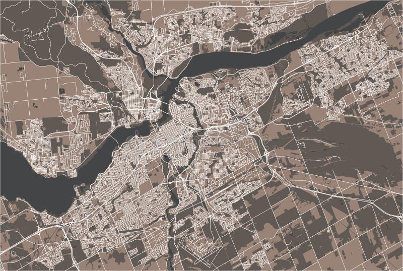 Map of the city of Ottawa, Ontario, Canada stock illustration