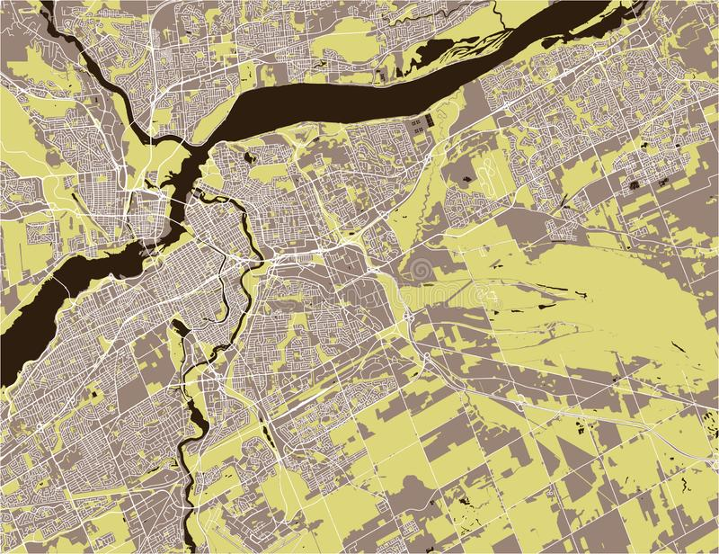 Map of the city of Ottawa, Ontario, Canada vector illustration